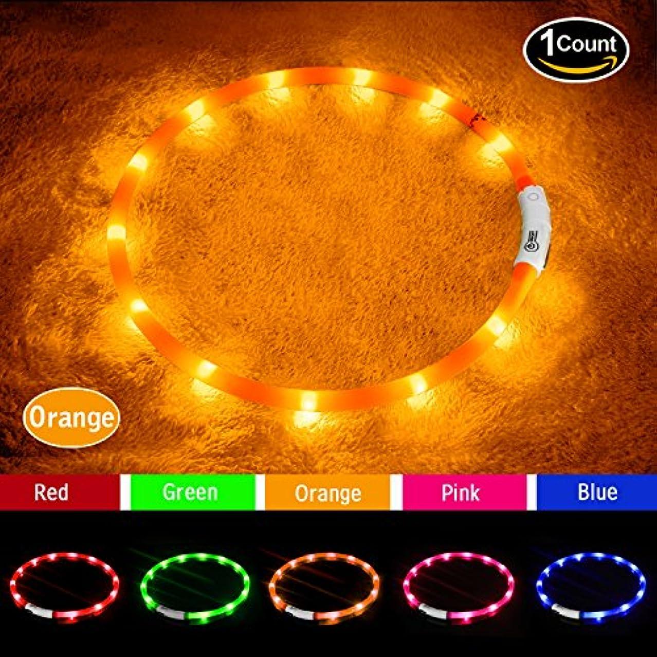 嫌がる受け入れるピグマリオンLED光る首輪, USB 再充電 ドッグ カラー 12個のLEDライト [500m先から目視可能] ペット 夜間 安全性 [3種類のライトモードを搭載] 防水 スモール ミディアム ラージ (オレンジ)