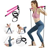 Maclfy Portable Elastic Pilates Bar Kit, Pilates Bar Band Body Building Pullerwith Resistance Band Yoga Exercise Bar and 2 Fo