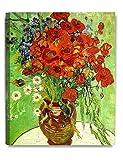 DecoArts アートパネル 印象派油絵 壁掛け絵画 壁飾り フィンセント・ファン・ゴッホの絵画作品 (40cm x 50cm, Red Poppies And Daisies)