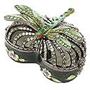 フローラルグリーンエナメルハートwith Dragonfly TrinketジュエリーボックスFigurine with Swarovski Elementsクリスタル