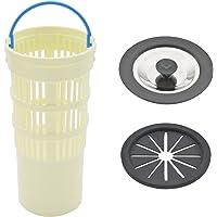 GAONA(ガオナ) 排水口水切りカゴ ゴミ受け:アイボリー、菊割れゴム・止水フタ:ブラック ゴミ受け:直径78ミリ×高…