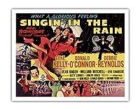 雨に唄えば - ジーン?ケリー、ドナルド?オコナー、とデビー?レイノルズ主演 - ビンテージなフィルム映画のポスター c.1952 - アートポスター - 28cm x 36cm