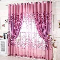 ゴシレ Gosear 1枚カーテン 100 x 250cm ?花柄 半遮光カーテン タッセル レース カーテン ドア 家 窓カーテン 紫色
