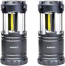 Raniaco LEDランタン 明るい 携帯型 折り畳み式 ポータブル テントライト 防水仕様 防災対策 登山 夜釣り ハイキング アウトドア キャンプ用 2個セット