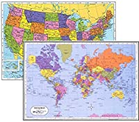 World Placemat USA Placemat, Laminated Educational Placemats (2)