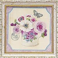 ユーパワー アートフレーム/植物・花 ピンク W18xH18cm
