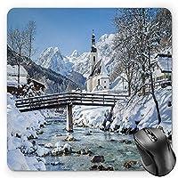 BGLKCS 冬用マウスパッド パノラマ風景の景観 ヨーロッパの景観 標準サイズ 長方形 滑り止め ゴムマウスパッド ブルー ブラウン ホワイト