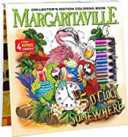 Margaritaville 5 O'Clock Somewhere Adult Coloring Book Collector's Edition With 24 Colored Pencils Pencil Sharpener and 4 Drink Coasters [並行輸入品]