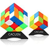 CACUSN 競技用キューブ ステッカーレス スタンド付き 脳トレ プレゼント 2×2,3×3