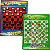 Checkers Board Game and Snakes & Ladders Game, Set of 2 Jumbo Size, Foldable, Waterproof Mats and Pieces, by Dimple [並行輸入品]
