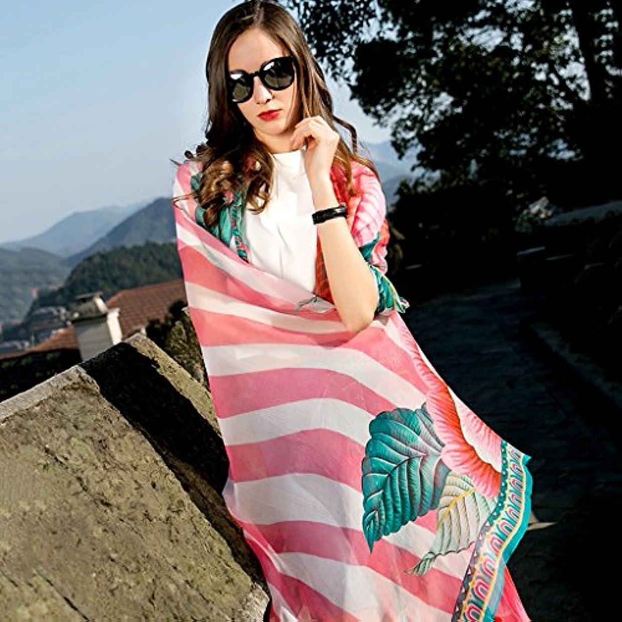 不純置き場手つかずの女性の成長の日焼け止めのショールシルク休暇のスカーフの観光スカーフの民族のスタイルのスカーフ96.4 * 43.3インチ (Color : Pink)