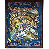 If You Cast It They Will Come Tin Sign釣りメタルポスター壁の装飾のホーム/ Man Cave Decor by prettymerchant