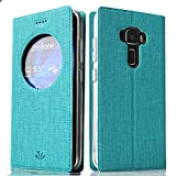 ASUS ZenFone3 ZE520KL ケース 5.2inch Feitenn 布調 PU TPU ケース 全面保護 手帳型 スタンド機能 窓 ゼンフォン3 ze520kl 専用 スマートカバー (ブルー)