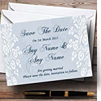 ヴィンテージレースPale BlueシックPersonalized結婚を保存日付カード 50 Invitations