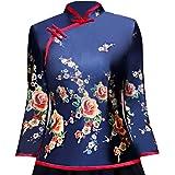 Shanghai Story Cheongsam Shirt 3/4 Sleeve Chinese Top Blue Velvet Blouse with Black Linen Skirt