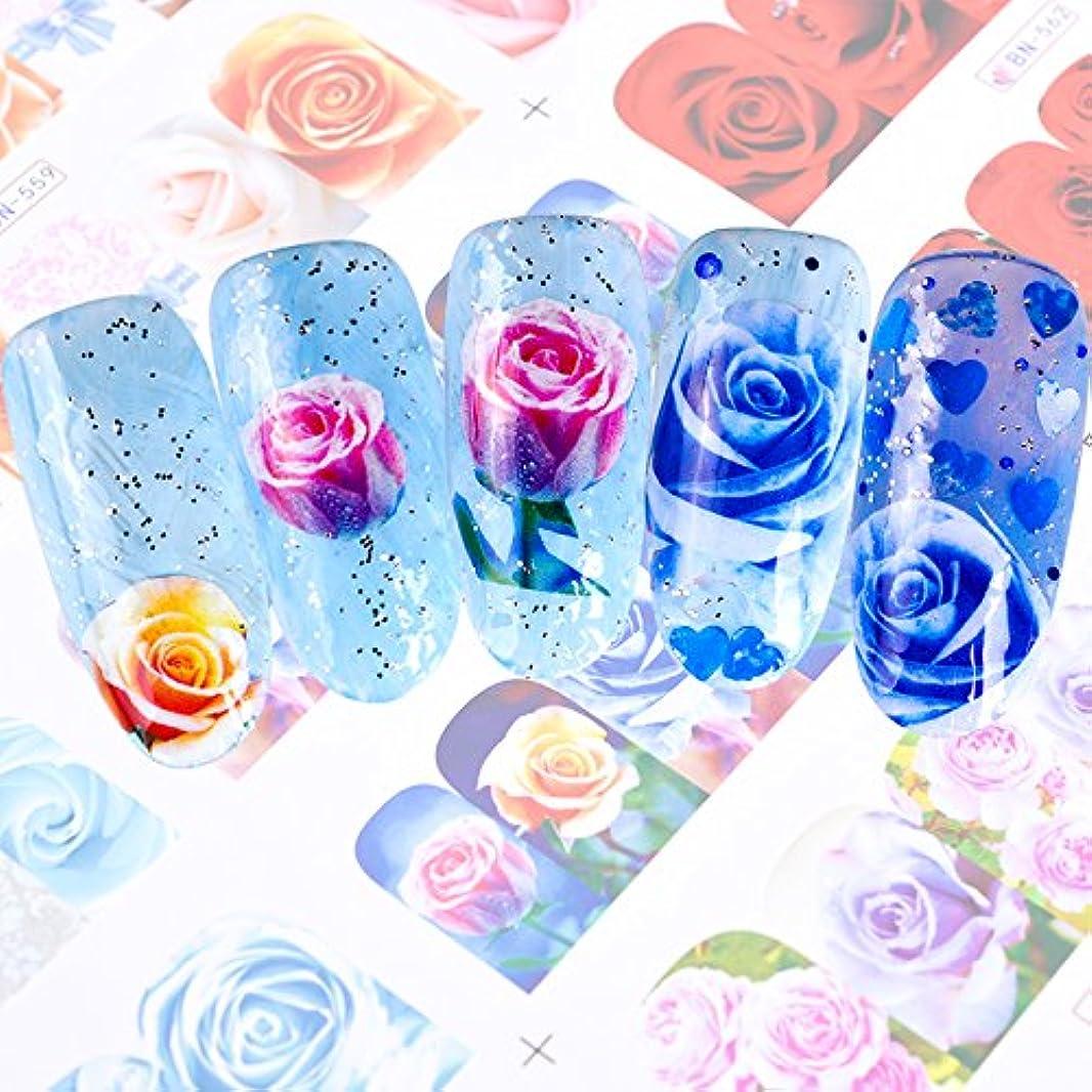 SUKTI&XIAO ネイルステッカー 12スタイルロマンチックなローズ美容ネイルアート水転写ステッカー装飾デカールツールフルラップ透かしマニキュア