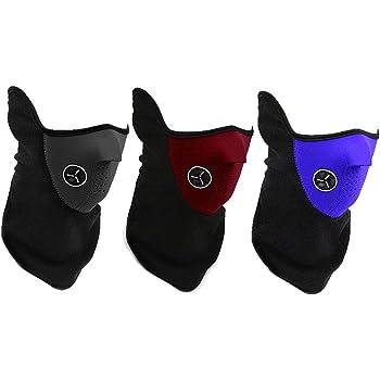 【全3色】 防寒 対策 の必需品 フェイス マスク & ネック ウォーマー  スキー スノボー ウィンター スポーツ や バイク での ツーリング の際にぜに レッド