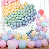 Zesliwy Pastel Colorful Latex Party Balloons,120 Pack 12 Inches Macaron Assorted Rainbow Balloons for Birthday Baby Shower Pa