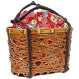 (キョウエツ) KYOETSU かわいい竹かご巾着バッグ 浴衣 和柄 レトロ kg-06 (かご-茶×赤系)
