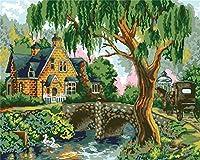 新着DIY油絵 数字油絵 数字キットによる絵画 - バル ー40x50cm - 家の装飾のギフト (静かな家) (E128, ノー木製フレ)