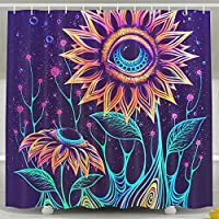 OKLETY Personalized Waterproof Shower Curtain Colorful Flowers Bathroom Curtains 60x72 Inches