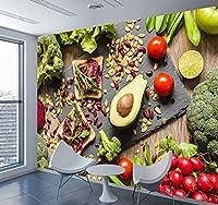 Chunxd 3D壁紙食品野菜フルーツ壁壁画紙写真壁紙用3Dレストランホールリビングルームの壁の装飾-450X300Cm