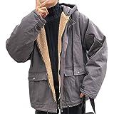 Alhylaボアジャケット メンズ 厚手 裏起毛 秋 冬 暖かい ボアブルゾン 長袖 無地 ショートフードコート ファスナー付き トップス 上着 紳士 韓国風 ファッショ ビジネス