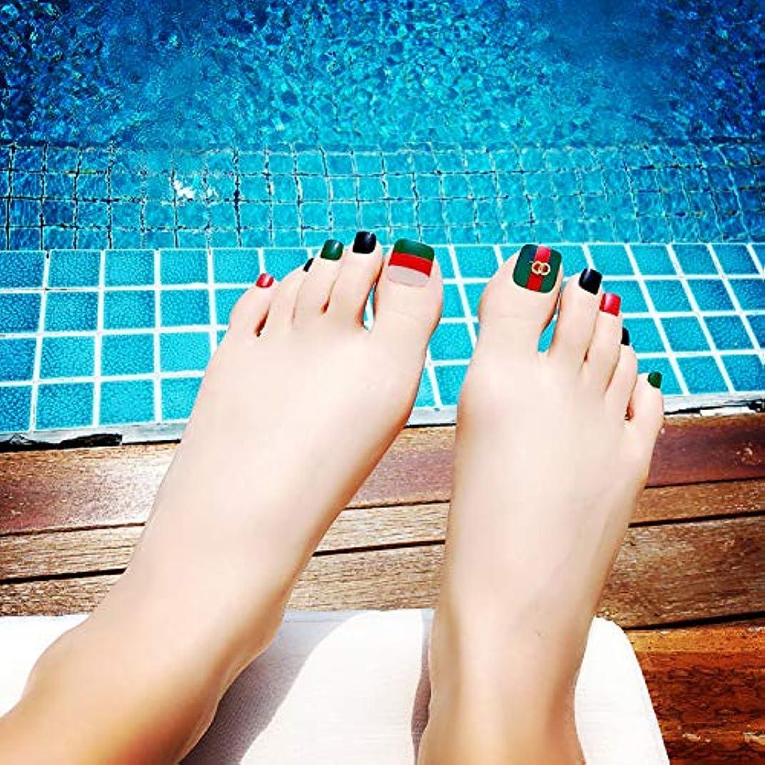 法律によりキリマンジャロ積分ビーチ 海辺 足用 手作りネイルチップ 24枚 ネイルジュエリー つけ爪 シンプル 両面接着テープ付き