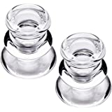 Clear Glass Candlestick Holders, Set of 2 Taper Candle Holders for Wedding, Decoration and Dinning