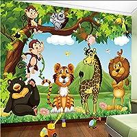 Mingld カスタム壁画壁紙3D漫画動物の世界子供たち子供の寝室の背景壁画環境に優しい不織布の壁紙3 D-400X280Cm