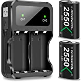Controller Battery Pack for Xbox One/Xbox Series X|S, BEBONCOOL 2x2550 mAh Rechargeable Battery Pack for Xbox Series X|S/Xbox
