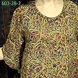 【国内Free】カラムカリプリント ドビー織オープンワンピース ドレス OP草木染 603028 3柄 2黄土色+赤1点,選択