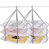 SUNTRY (2 Pack) 3-Tier Folding Clothes Drying Rack, Windproof Foldable Cloth Dryer with Fixing Band, Collapsible Hanging Laun
