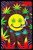 Happy Weed Flocked Blacklightポスター–23x 35