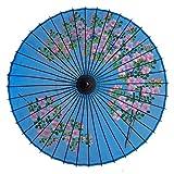 和傘 絹傘 桜絵 水色 継柄 踊り傘