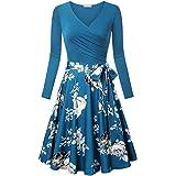 Huphoon Women Long Sleeve V-Neck Flowers Print Vintage Elegant Swing Dress