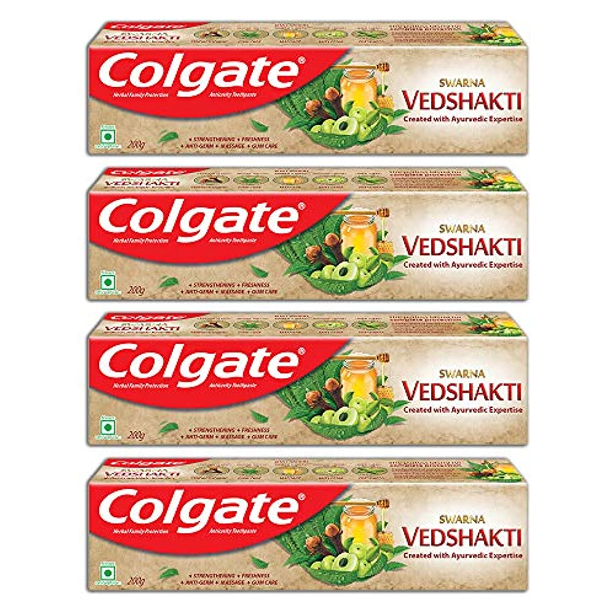 医薬つば愛撫Colgate Swarna Vedshakti Toothpaste - 200gm (Pack of 4)