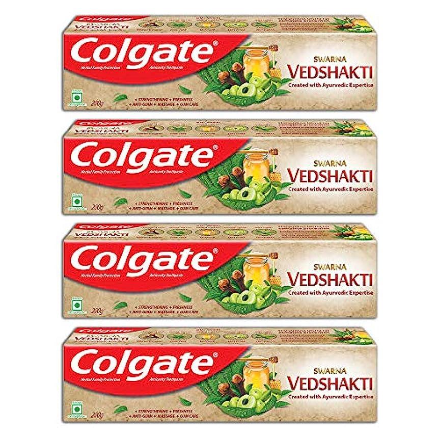 さようならドック流行しているColgate Swarna Vedshakti Toothpaste - 200gm (Pack of 4)