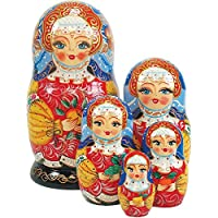 G. Debrekht Apple Girl Russian Nesting Dolls, Set of 5 , Tallest Doll 6-1/2-Inch, Hand-Painted [並行輸入品]