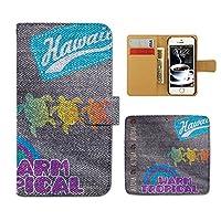 (ティアラ) Tiara AQUOS R SHV39 スマホケース 手帳型 デニム 手帳ケース カバー デニム ペイント ホヌ 亀 ハワイ ET184030095104