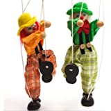 Fun Wooden Clown Marionette Pull String Puppet Vintage Toy for Kids Men Women Pretend Play Puppetry Toy