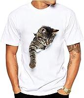 MIOIM T恤 男士 短袖 3D 猫 印刷 干燥材料 运动 吸水速干 素色 父亲节 时髦 简约 男式 礼物