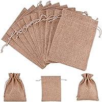 (Brown) - nbeads 100 Pcs 18cm x 13cm Brown Burlap Wedding Pouches Drawstring Bags Jewellery Pouches Gift Pouches