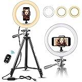 "10"" Selfie Ring Light with 50"" Extendable Tripod Stand & Flexible Phone Holder for Live Stream/Makeup, UBeesize Mini Desktop"