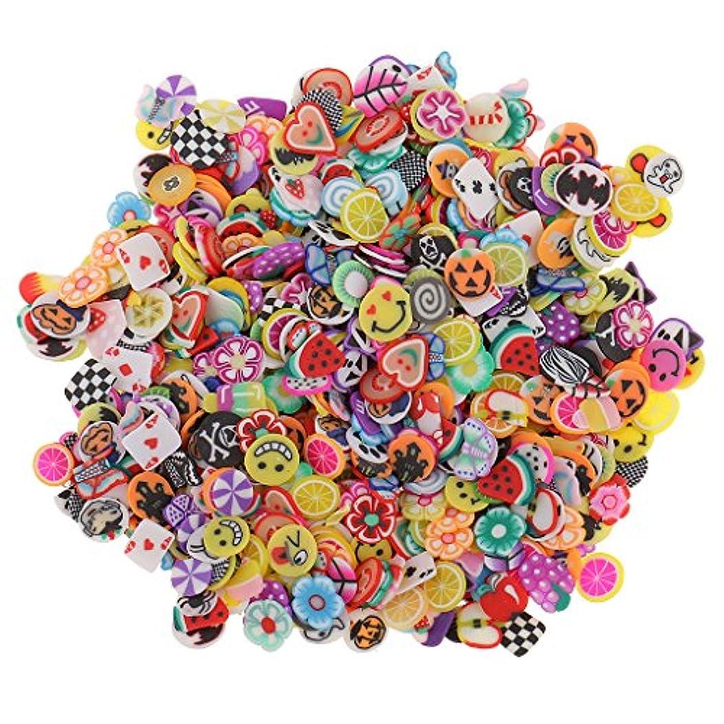 侮辱幸福早く1000ピース ネイルアート フルーツ スライス ポリマー クレイ ステッカー ネイル おしゃれ 装飾 - 混合スタイル