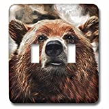 Doreen Erhardt Wildlife – Painted Portrait of aブラウンBear with a Smirk In The Woods – 照明スイッチカバー – ダブルトグルスイッチ( LSP _ 235482 _ 2 )