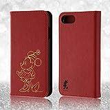 レイ・アウト iPhone7 ケース ディズニー 手帳型 レザーケース(ICカード /ストラップホール) ホットスタンプ ワンポイント/ミニーマウス RT-DP12I/MN