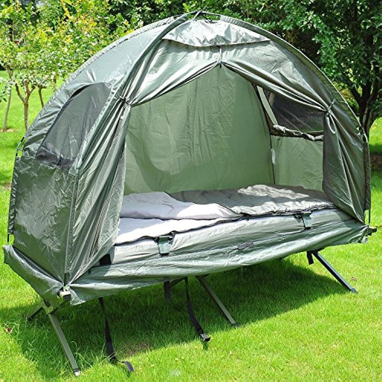 ハングキャプチャーガラスColorsShop シングルポータブルキャンプテント ベッドコット 寝袋付き エアマットレス