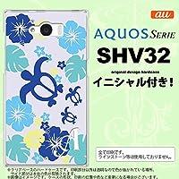 SHV32 スマホケース AQUOS SERIE カバー アクオス セリエ イニシャル 亀とハイビスカス 青 nk-shv32-1107ini K