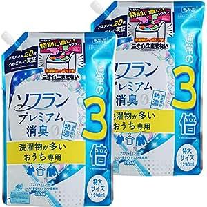 【まとめ買い 大容量】ソフラン プレミアム消臭 洗濯物が多いおうち専用 柔軟剤 アクアジャスミンの香り 詰め替え 1290ml×2個
